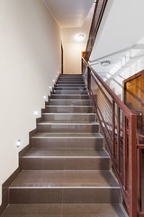 Large luxury staircase of marble in residential building