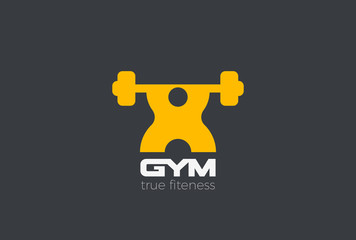 Gym Fitness Sport Logo vector. Man Barbell doing exercise icon