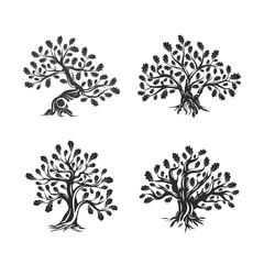 Huge and sacred oak tree silhouette logo isolated on white background. Modern vector national tradition green plant icon sign design set. Premium quality organic logotype flat emblem illustration.