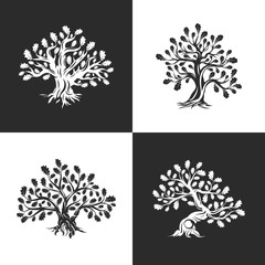 Huge and sacred oak tree silhouette logo isolated on background. Modern vector national tradition green plant icon sign design set.