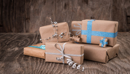 Presents on wooden surface