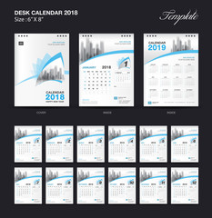 Set blue Desk Calendar 2018 year size  6 x 8 inch template, Set of 12 Months, and city vector