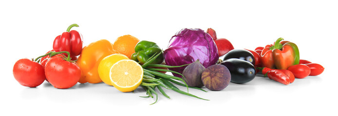 Foto op Plexiglas Keuken Composition of different fruits and vegetables on white background