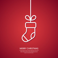 Outline hanging Christmas sock. Minimal Christmas greeting card. Vector illustration.