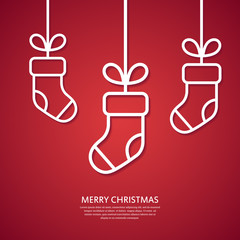 Outline hanging Christmas socks. Minimal Christmas abstract background or greeting card. Vector illustration.