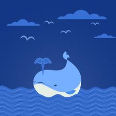 Cute cartoon whale icon