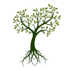 Shape of Green Tree with Leaves and Roots. Vector Illustration.