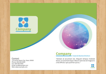 Single-Fold Business Brochure Layout with Green and Blue Accents
