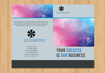 Single-Fold Business Brochure Layout with Blue Accents