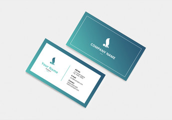 Business Card with Blue-Green Accents