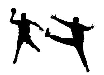 Piłka ręczna gracza i bramkarza