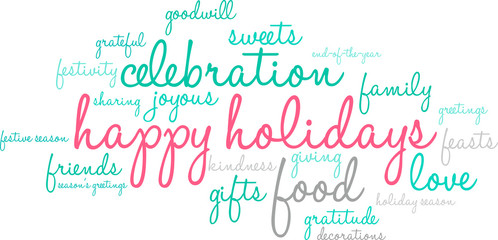 Happy Holidays Word Cloud on a white background.