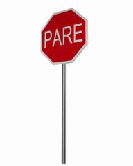 Verkehrszeichen USA (Puerto Rico): Stoppschild, auf weiß isoliert