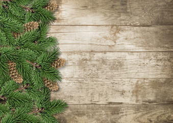 Christmas background framed with branches and cones on wood: Copy space