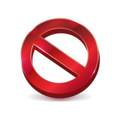 Prohibition No Symbol 3D Art Illustration Icon