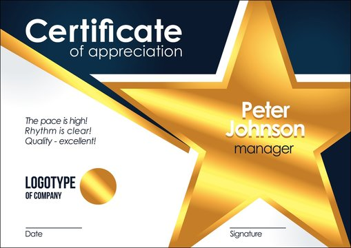 Certificate of appreciation Golden muniment or diploma template with gold star metal texture vector cool vector design frame illustration