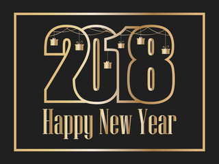2018 Happy new year. Golden numbers on a black background. Congratulations in the frame. Vector illustration