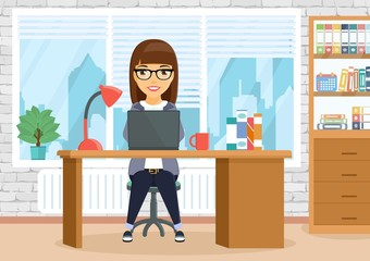 The girl in the office sitting at the table. A young girl is busy working. Business and Finance. In flat style. Cartoon.