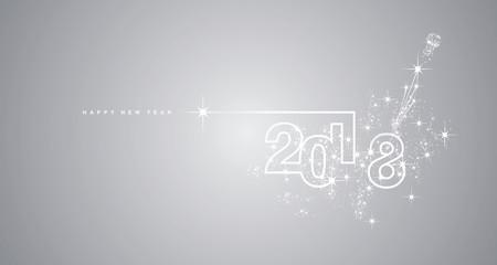 New Year 2018 line design firework white silver gray vector