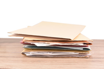 Document file placed on the desk on isolated background and clipping path.