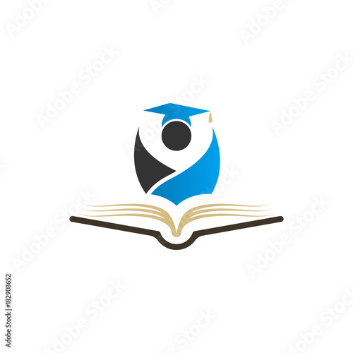 c6a7a8be Education logo concept with graduation cap and book icon, vector  illustration template
