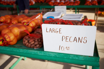 Farmers market stall selling pecan nuts