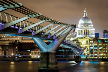 St Pauls cathedral in winter night, London