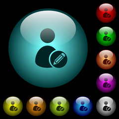 Edit user account icons in color illuminated glass buttons