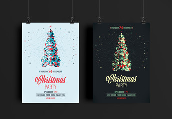 Christmas Party Flyer Layout in 3 Colors Palettes