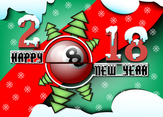 happy new year and billiard ball