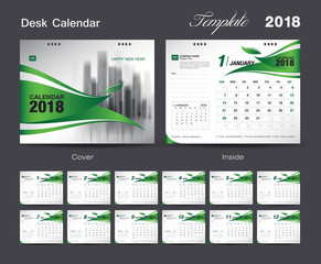 Set Desk Calendar 2018 template design, green cover, Set of 12 Months, Week start Sunday
