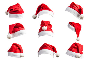 Christmas hat on white background Wall mural