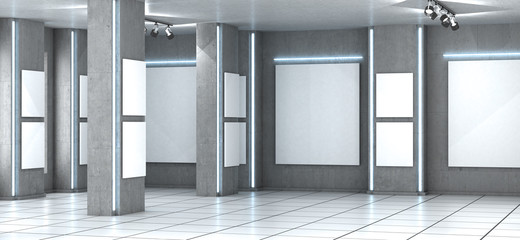 Gallery. Area with concrete floor and walls.  3D illustration