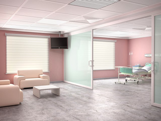 Hospital room with a bed and with room to visit. 3d illustration