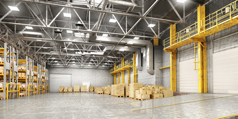 Concept of warehouse. The forklift between rows in the big warehouse. 3d illustration