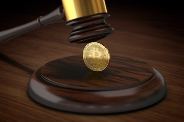 Judge hammer crushing Bitcoin. Bitcoin's inauspicious legal situation concept. 3D rendering