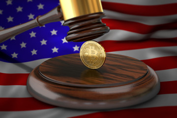 Bitcoin and judge gavel laying on flag of USA. Bitcoin legal situation in USA concept. 3D rendering