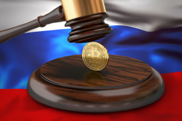 Bitcoin and judge gavel laying on flag of Russia. Bitcoin legal situation in Russia concept. 3D rendering