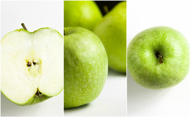 green apple Collage on white background.
