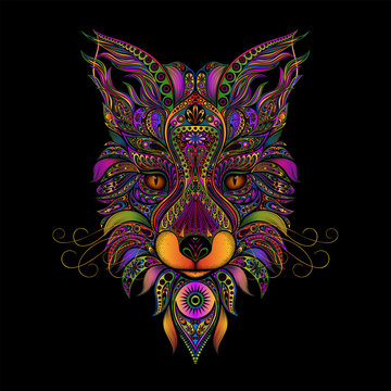 Color vector fox from patterns on a black background
