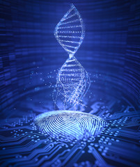 Genetic code DNA coming out of the fingerprint.