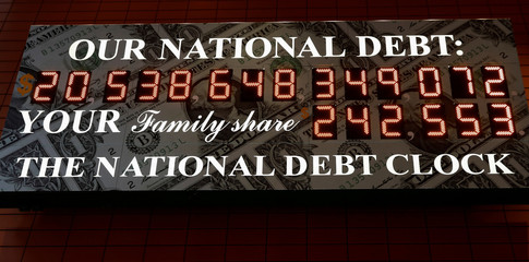 The National Debt Clock is seen in the Manhattan borough of New York City