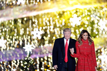 U.S. President Donald Trump and First Lady Melania Trump attend the National Christmas Tree Lighting and Pageant of Peace ceremony on the Ellipse near the White House in Washington, U.S.