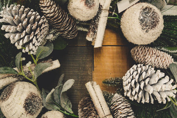 Pine cone wreath Christmas background
