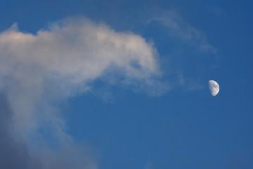 月と青空と雲「空想・雲のモンスター」(もやもやした気分、何だろうか、半信半疑、疑問に思うなどのイメージ