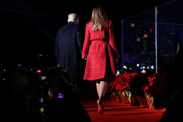 U.S. President Donald Trump and first lady Melania participate in the National Christmas Tree lighting ceremony in Washington