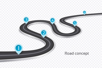 Winding 3d road infographic concept on a white background. Timeline template