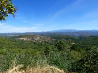 Monforte de la Sierra y Madroñal desde el aire. Paisajes en Salamanca (Castilla y Leon, España)