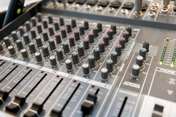 Close up of music mixer equalizer console for mixer control sound device. .