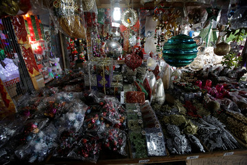 Christmas decorations are seen at a market in San Jose